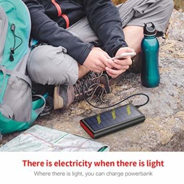 VOOE Solar Powerbank 26800mAh Externer Akku, Solar Ladegerät mit 2 Ausgänge, Solar Power Bank mit Automatische Erkennen Technologie, Solar Akkupack Power Pack für Smartphones, Tablets und USB-Geräte - 7