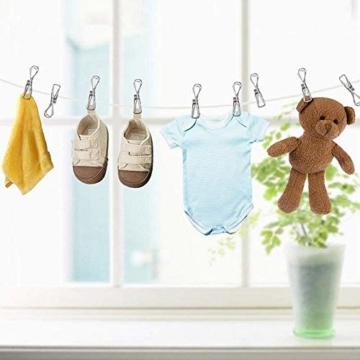 Wäscheklammern aus Edelstahl,Metallklammern für Fotos,Stahl Klammern,Clips Rostfreie Mehrzweck Metall Wäscheklammern zum Wäschetrocknen, Handtücher, Socken, Snack,Verschluss (100 Stück) - 6