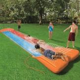 Wasserrutsche für Kinder mit Sprinkler für den Garten, doppelte Wasserrutschmatte Große und lange aufblasbare Sommerspray-Spielzeugrutsche und Rutschmatte für Kinder Jungen Mädchen im Freien - 1