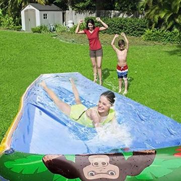 Wasserrutsche, Sandrutsche Mit 103 cm 600 cm Spray Und Aufblasbarem Antikollisionspad, Gartenrutsche Im Freien Für Kinder, Wasserspaß Für Jungen Und Mädchen - 7