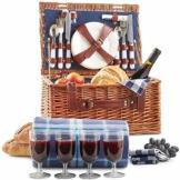 Weidenkorb Picknickkorb Picknickkoffer Set Mit Besteck Geschirr Gläsern & Fleecedecke Für 4 Personen Partys Im Freien 42 * 31 * 23cm - 1