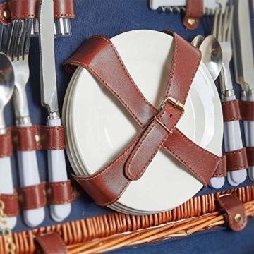 Weidenkorb Picknickkorb Picknickkoffer Set Mit Besteck Geschirr Gläsern & Fleecedecke Für 4 Personen Partys Im Freien 42 * 31 * 23cm - 3