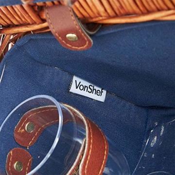 Weidenkorb Picknickkorb Picknickkoffer Set Mit Besteck Geschirr Gläsern & Fleecedecke Für 4 Personen Partys Im Freien 42 * 31 * 23cm - 4