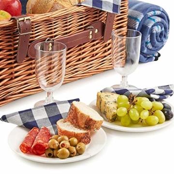 Weidenkorb Picknickkorb Picknickkoffer Set Mit Besteck Geschirr Gläsern & Fleecedecke Für 4 Personen Partys Im Freien 42 * 31 * 23cm - 5