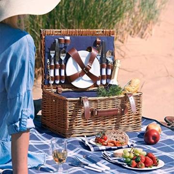 Weidenkorb Picknickkorb Picknickkoffer Set Mit Besteck Geschirr Gläsern & Fleecedecke Für 4 Personen Partys Im Freien 42 * 31 * 23cm - 7