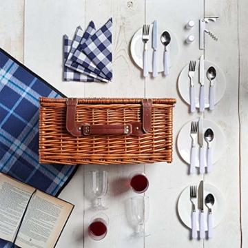 Weidenkorb Picknickkorb Picknickkoffer Set Mit Besteck Geschirr Gläsern & Fleecedecke Für 4 Personen Partys Im Freien 42 * 31 * 23cm - 8