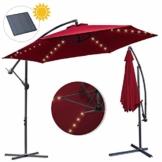 wolketon Ø 350cm Alu Ampelschirm mit Solar LED Warmweiß Beleuchtung Sonnenschirm Gartenschirm Kurbelschirm UV 30+ Wasserabweisende Marktschirm - 1
