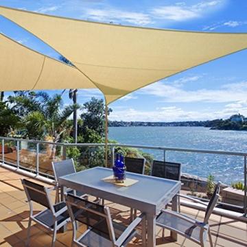 WOLTU Sonnensegel Rechteck 2x3m Grau atmungsaktiv Sonnenschutz HDPE Windschutz mit UV Schutz für Garten Terrasse Camping - 2