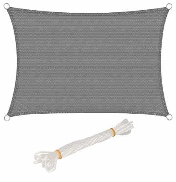 WOLTU Sonnensegel Rechteck 2x3m Grau atmungsaktiv Sonnenschutz HDPE Windschutz mit UV Schutz für Garten Terrasse Camping - 1