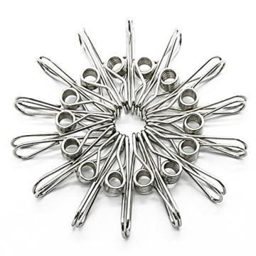 Wskderliner Clothes Pegs Stainless Steel Waescheklammer Pins Metal Wäsche Edelstahl Silber Starke Elastizität Packung von 60 - 7