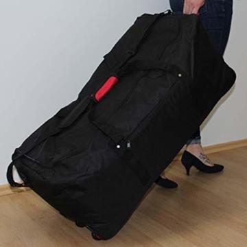 XXL Reisetasche/Trolleytasche Tasche mit 3 Rollen und Trolley Funktion (SCHWARZ) - 3