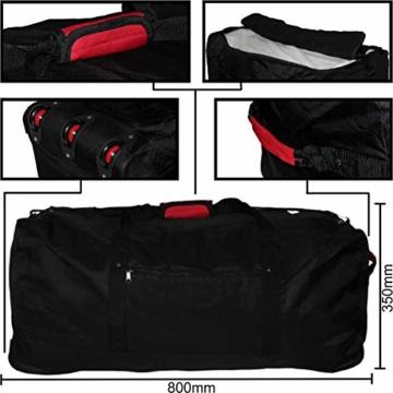XXL Reisetasche/Trolleytasche Tasche mit 3 Rollen und Trolley Funktion (SCHWARZ) - 4
