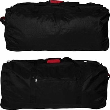 XXL Reisetasche/Trolleytasche Tasche mit 3 Rollen und Trolley Funktion (SCHWARZ) - 5