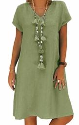 Yidarton Sommerkleid Leinen Kleider Damen V-Ausschnitt Strandkleider Einfarbig A-Linie Kleid Boho Knielang Kleid Ohne Zubehör(Grün,M) - 1