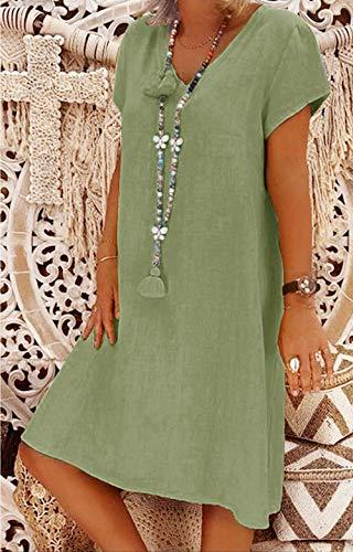 Yidarton Sommerkleid Leinen Kleider Damen V-Ausschnitt Strandkleider Einfarbig A-Linie Kleid Boho Knielang Kleid Ohne Zubehör(Grün,M) - 3