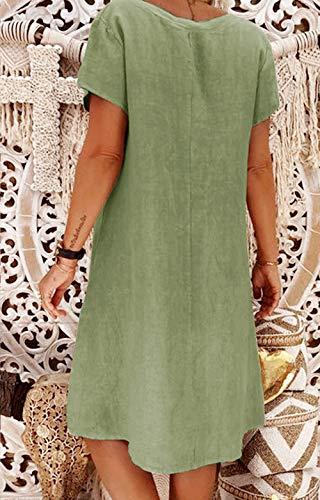 Yidarton Sommerkleid Leinen Kleider Damen V-Ausschnitt Strandkleider Einfarbig A-Linie Kleid Boho Knielang Kleid Ohne Zubehör(Grün,M) - 4