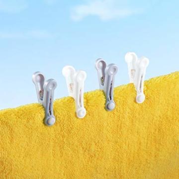 Yoassi 48er Set Premium Stabile Wäscheklammern in 2 Farben, mit Soft-Grip und Hochwertiger Innenliegender Feder, Bruchsicher Wetterfest 5x3cm Weiß+Grau - 4