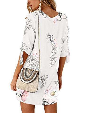 YOINS Damen Kleider Tshirt Kleid Sommerkleid für Damen Rundhals Brautkleid Langarm Minikleid Kleid Langes Shirt Lose Tunika mit Bowknot Ärmeln - 2