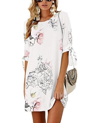 YOINS Damen Kleider Tshirt Kleid Sommerkleid für Damen Rundhals Brautkleid Langarm Minikleid Kleid Langes Shirt Lose Tunika mit Bowknot Ärmeln - 3