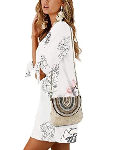 YOINS Damen Kleider Tshirt Kleid Sommerkleid für Damen Rundhals Brautkleid Langarm Minikleid Kleid Langes Shirt Lose Tunika mit Bowknot Ärmeln - 4