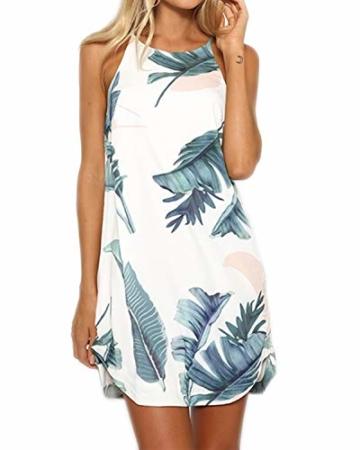 YOINS Strandkleider Damen Sommer Casual Sommerkleid Damen Kurz Strand Schulterfrei Elegant Kleider Ärmellos Minikleider Grün M - 1