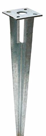 Zaun-Nagel Bodenhülse Einschlaghülse mit Kopfplatte Pfostenträger für Rundpfosten 38 mm Ø, Länge 50 cm - 1