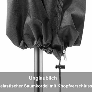 zizwe Sonnenschirm Schutzhülle Abdeckung, Wetterfeste, UV-Anti, Winddicht und Schneesicher, Outdoor für Ampelschirm schwarz 190 * 26/56 cm - 4