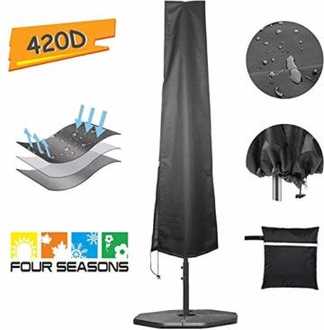 zizwe Sonnenschirm Schutzhülle Abdeckung, Wetterfeste, UV-Anti, Winddicht und Schneesicher, Outdoor für Ampelschirm schwarz 190 * 26/56 cm - 1
