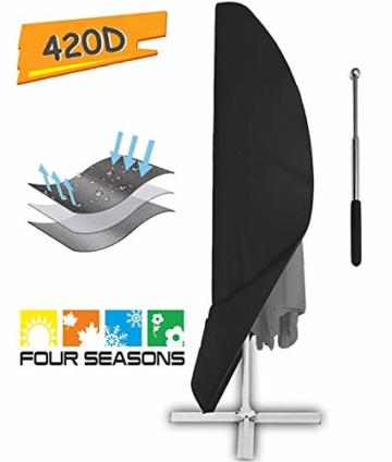 zizwe Sonnenschirm Schutzhülle mit Stab, Sonnenschirm Abdeckung, Wetterfeste, UV-Anti, Winddicht und Schneesicher, Outdoor für Ampelschirm schwarz (265 * 40/70/ 50 cm) - 1