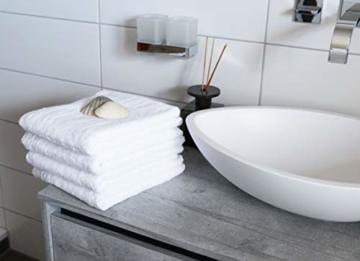 ZOLLNER 4er Set Handtücher, 50x100 cm, 100% Baumwolle, 650g/qm, weiß - 6