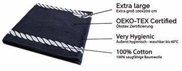 ZOLLNER XXL Strandtuch Baumwolle, 100x200 cm, Marine-weiß (weitere verfügbar) - 3