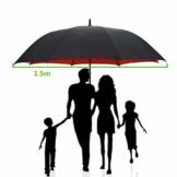 150 cm Golfschirm Männer Starke Winddicht Halbautomatische Langen Regenschirm Große Mann und Frauen Geschäfts Regenschirme Mens,Red - 1