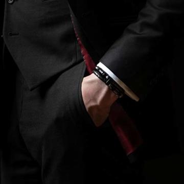 20cm Schwarz Armband Herren Männer-Armband Leder-Armreif Herren-Lederband Herrenarmreif Armschmuck Leder-Schmuck Herrenschmuck Armkette Leder-Wickelarmband Leder-Kette Armbändchen Men Leather Bracelet - 2