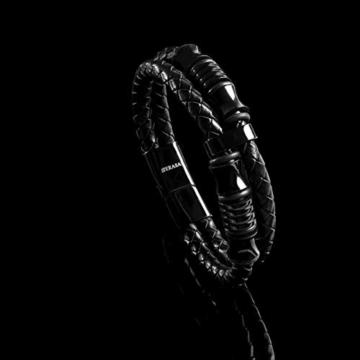 20cm Schwarz Armband Herren Männer-Armband Leder-Armreif Herren-Lederband Herrenarmreif Armschmuck Leder-Schmuck Herrenschmuck Armkette Leder-Wickelarmband Leder-Kette Armbändchen Men Leather Bracelet - 3