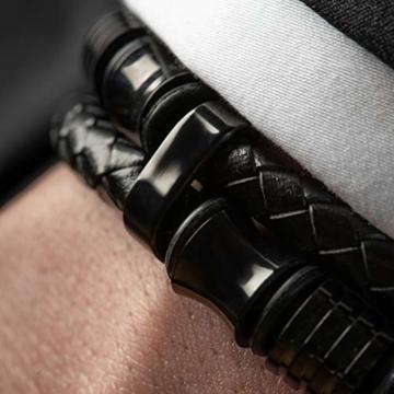 20cm Schwarz Armband Herren Männer-Armband Leder-Armreif Herren-Lederband Herrenarmreif Armschmuck Leder-Schmuck Herrenschmuck Armkette Leder-Wickelarmband Leder-Kette Armbändchen Men Leather Bracelet - 4
