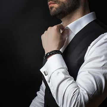 20cm Schwarz Armband Herren Männer-Armband Leder-Armreif Herren-Lederband Herrenarmreif Armschmuck Leder-Schmuck Herrenschmuck Armkette Leder-Wickelarmband Leder-Kette Armbändchen Men Leather Bracelet - 5