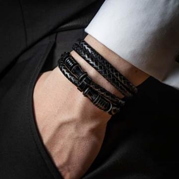 20cm Schwarz Armband Herren Männer-Armband Leder-Armreif Herren-Lederband Herrenarmreif Armschmuck Leder-Schmuck Herrenschmuck Armkette Leder-Wickelarmband Leder-Kette Armbändchen Men Leather Bracelet - 8