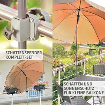 4smile Set – Sonnenschirm Balkon + Schirmständer Sonnenschirm – Komplett-Set ideal zur Beschattung Kleiner Balkone – Sonnenschirm rund Ø 2 m + Sonnenschirmhalter Balkongeländer - 2