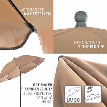 4smile Set – Sonnenschirm Balkon + Schirmständer Sonnenschirm – Komplett-Set ideal zur Beschattung Kleiner Balkone – Sonnenschirm rund Ø 2 m + Sonnenschirmhalter Balkongeländer - 3