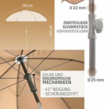4smile Set – Sonnenschirm Balkon + Schirmständer Sonnenschirm – Komplett-Set ideal zur Beschattung Kleiner Balkone – Sonnenschirm rund Ø 2 m + Sonnenschirmhalter Balkongeländer - 4