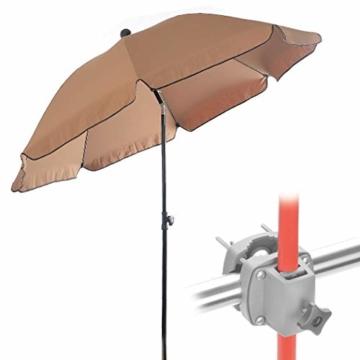 4smile Set – Sonnenschirm Balkon + Schirmständer Sonnenschirm – Komplett-Set ideal zur Beschattung Kleiner Balkone – Sonnenschirm rund Ø 2 m + Sonnenschirmhalter Balkongeländer - 1