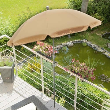 4smile Set – Sonnenschirm Balkon + Schirmständer Sonnenschirm – Komplett-Set ideal zur Beschattung Kleiner Balkone – Sonnenschirm rund Ø 2 m + Sonnenschirmhalter Balkongeländer - 5