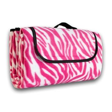 7dreams® Picknick-Decke 130x150cm Fleece Campingdecke Stranddecke Reisedecke Strand Matte Wasserabweisend - Verschiedene Designs (Zebra Pink-Muster) - 2