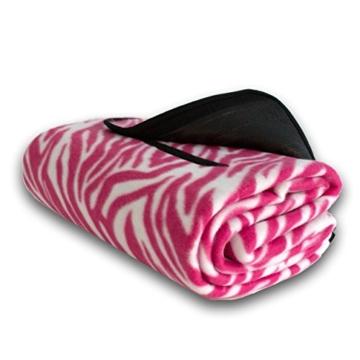 7dreams® Picknick-Decke 130x150cm Fleece Campingdecke Stranddecke Reisedecke Strand Matte Wasserabweisend - Verschiedene Designs (Zebra Pink-Muster) - 3