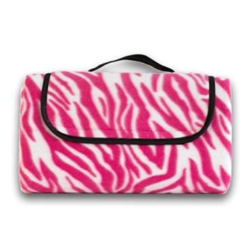 7dreams® Picknick-Decke 130x150cm Fleece Campingdecke Stranddecke Reisedecke Strand Matte Wasserabweisend - Verschiedene Designs (Zebra Pink-Muster) - 4