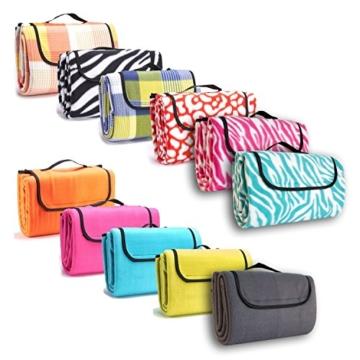 7dreams® Picknick-Decke 130x150cm Fleece Campingdecke Stranddecke Reisedecke Strand Matte Wasserabweisend - Verschiedene Designs (Zebra Pink-Muster) - 1