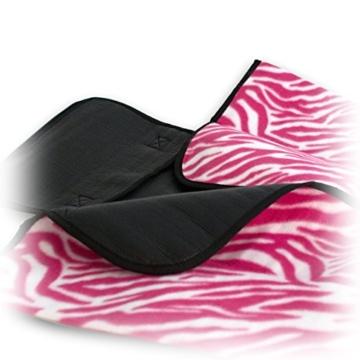 7dreams® Picknick-Decke 130x150cm Fleece Campingdecke Stranddecke Reisedecke Strand Matte Wasserabweisend - Verschiedene Designs (Zebra Pink-Muster) - 5