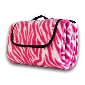 7dreams® Picknick-Decke 130x150cm Fleece Campingdecke Stranddecke Reisedecke Strand Matte Wasserabweisend - Verschiedene Designs (Zebra Pink-Muster) - 6