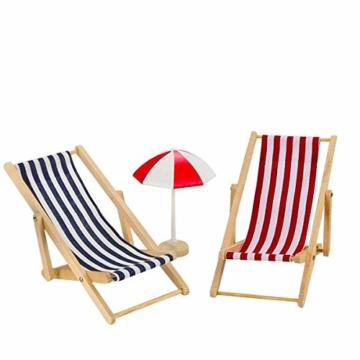 Adkwse Strand-Mikrolandschaft Mini Liegestuhl Sonnenschirm Palme Strand Deko DIY Geldgeschenk Reise Schildkröten Zubehör - 3
