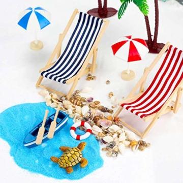 Adkwse Strand-Mikrolandschaft Mini Liegestuhl Sonnenschirm Palme Strand Deko DIY Geldgeschenk Reise Schildkröten Zubehör - 4